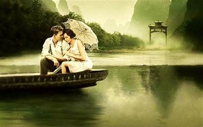 Couple Boat Romantic Wallpapers Couples Backgrounds Barsaat