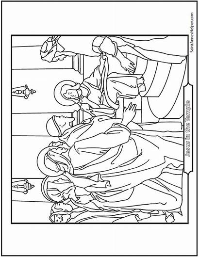 Coloring Jesus Temple Rosary Bible Story Teaching
