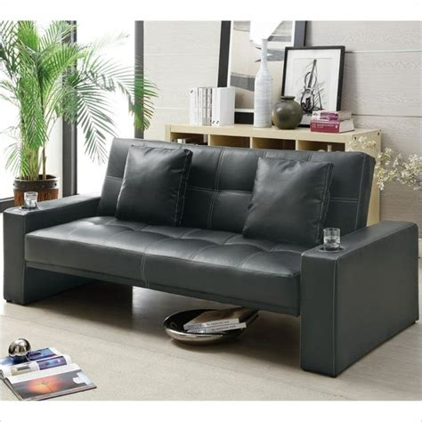 sofa with cup holders coaster sofa sleeper with cup holders in black 300125