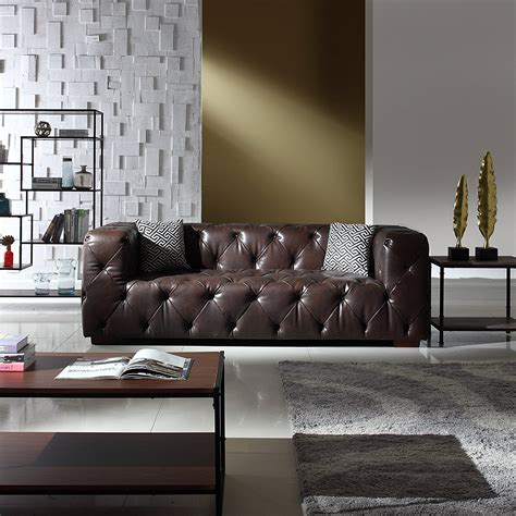 Apartment Leather Sofa by Large Tufted Real Italian Leather Chesterfield Sofa