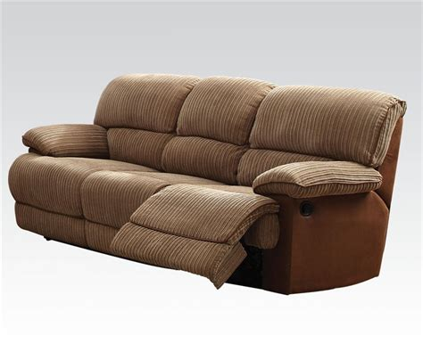 brown fabric recliner sofa malvern two tone brown fabric reclining sofa by acme 51140