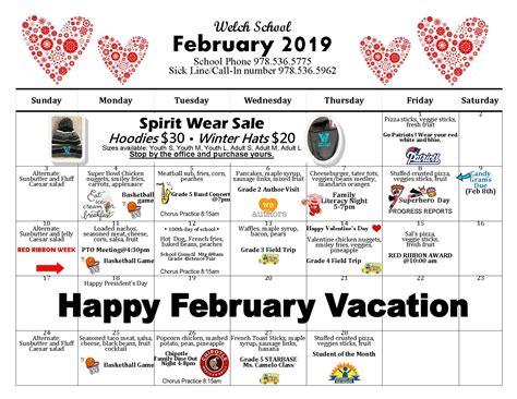 welch school february calendar peabody public schools