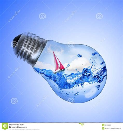 inside of a light bulb light bulb with water and yacht inside royalty free stock