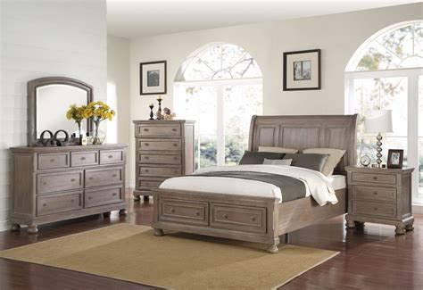 New Bedroom Sets by Allegra Pewter Storage Sleigh Bedroom Set From New