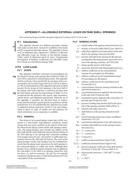 API 650-Appendix p | Stress (Mechanics) | Stiffness
