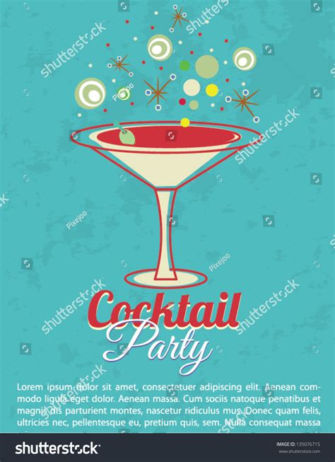 vintage cocktail party invitation poster stock vector