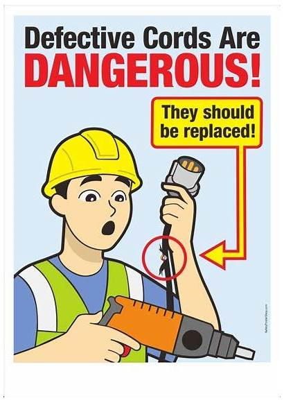 Safety Posters Defective Cords Poster Tools Dangerous