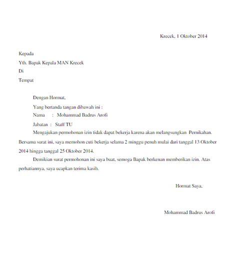 contoh surat izin cuti menikah  karyawan