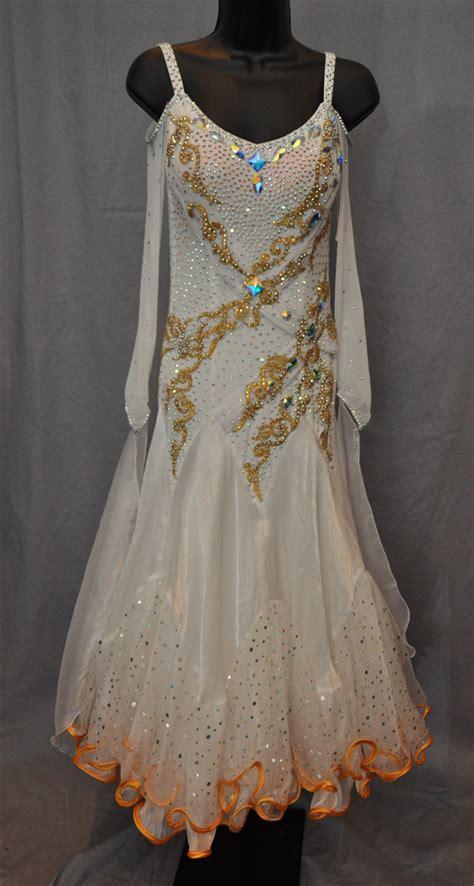 white  gold drop shoulder mesh long sleeves ballroom dress