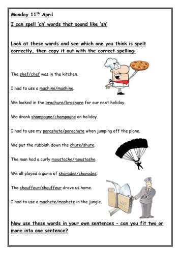 sh spelt ch worksheet  cleggems teaching resources tes