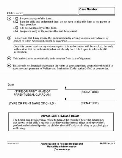 Release Authorization Health Mental Jv Forms California
