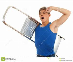 Yawning, Stretching Young Man With Ladder Stock Photo ...