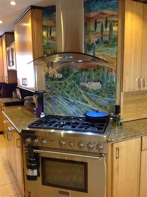 glass tuscan mural  kitchen designer glass mosaics