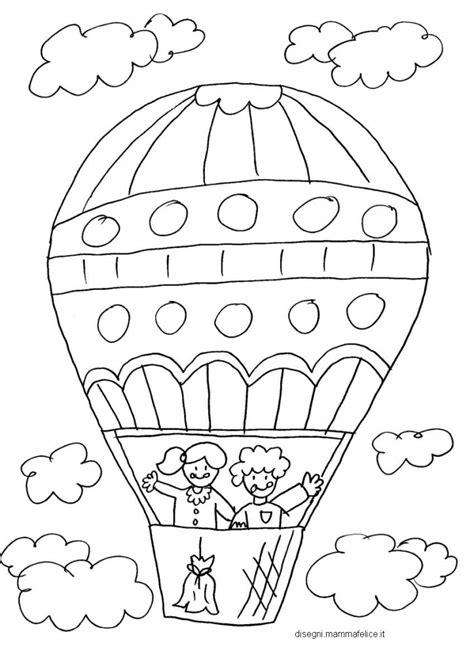 disegno da colorare  bambini la mongolfiera disegni