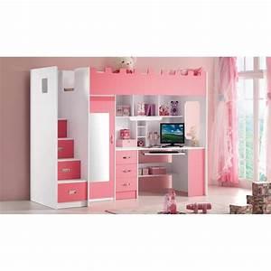 Lit Combiné Double : lit multifonction pour fille lolo rose achat vente ~ Premium-room.com Idées de Décoration