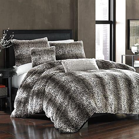 14274 fur bed set leopard faux fur duvet cover bed bath beyond