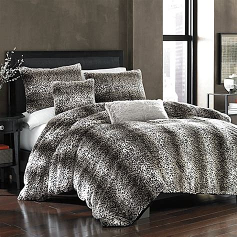 persian leopard faux fur duvet cover bed bath