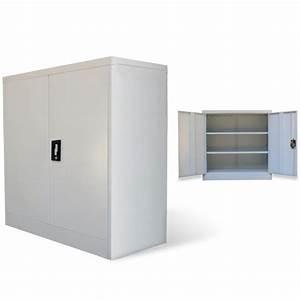Armoire De Bureau Métallique : armoire m tallique de bureau avec 2 portes 90 cm gris achat vente armoire de bureau armoire ~ Melissatoandfro.com Idées de Décoration