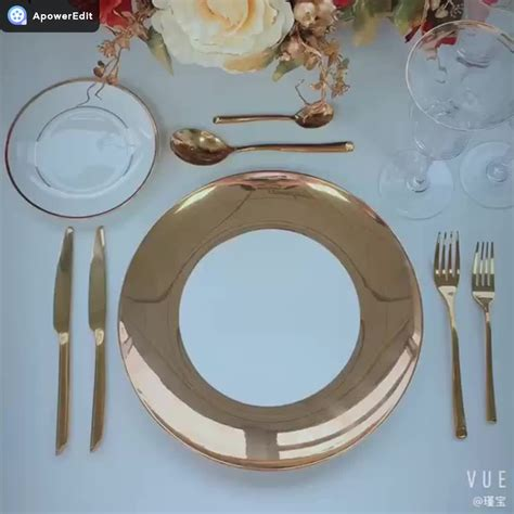 luxury dinner gold plate korean asian japanese charger dinnerware plates dubai rim golden sets wedding bone decal china event
