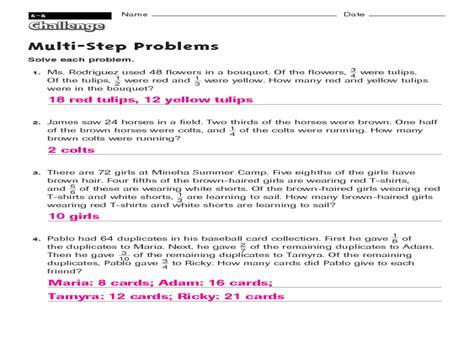 multi step problem solving worksheets worksheets for all