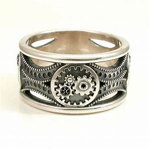 silver gear ring steampunk art deco mens by swankmetalsmithing With gear mens wedding ring