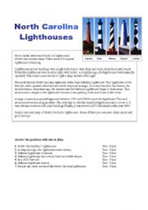 English Worksheet Lighthouses In North Carolina