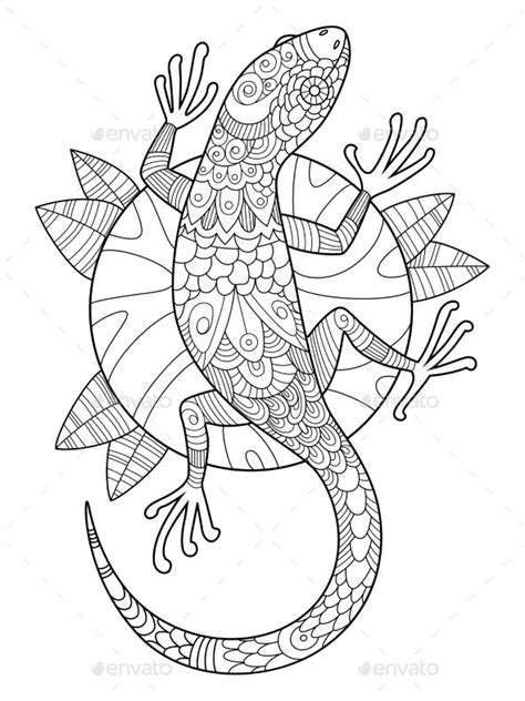 lizard coloring book for adults vector illustration. Anti-stress coloring for adult. Tattoo
