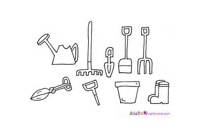 Tools Coloring Garden Pages Drawing Gardening Utensils