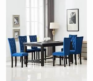 Küchen Und Esszimmerstühle : vidaxl esszimmerst hle 6 stk samt dunkelblau g nstig kaufen ~ Watch28wear.com Haus und Dekorationen