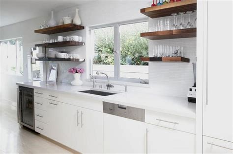 floating kitchen cabinets white kitchen cabinets with wood floating shelves white 3776