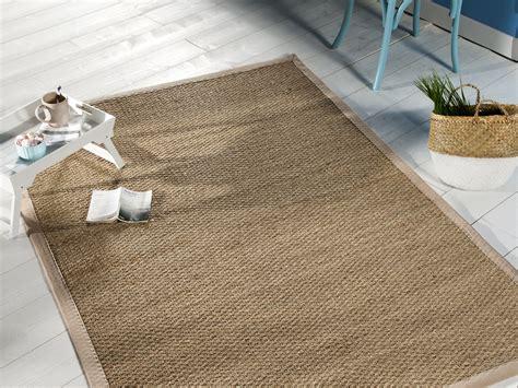 tapis jonc de mer avec ganse en coton montauk beige 200x290cm