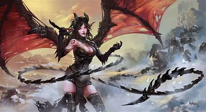 Demon Horns Wings Tail Fantasy Drawing Female
