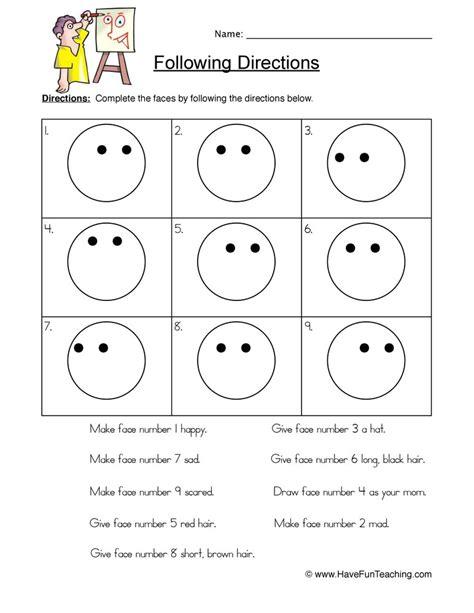 smilies follow directions worksheet have fun teaching
