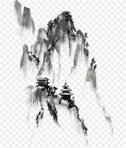 Ink Chinese Wash Painting Mountain Drawing Landscape