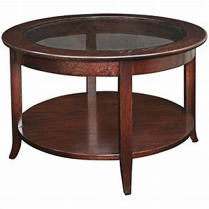 leick furniture solid wood round glass top coffee table in With solid wood glass top coffee table