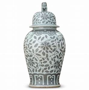Jiangjun Vintage Style Chinese Porcelain Grey Painted