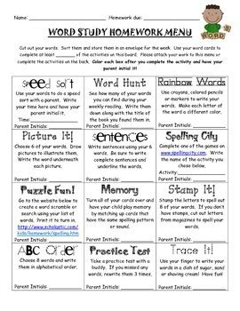 word study spelling homework menu by fantastic grade one tpt