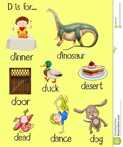 preschool words that start with d d letter words clipart 460