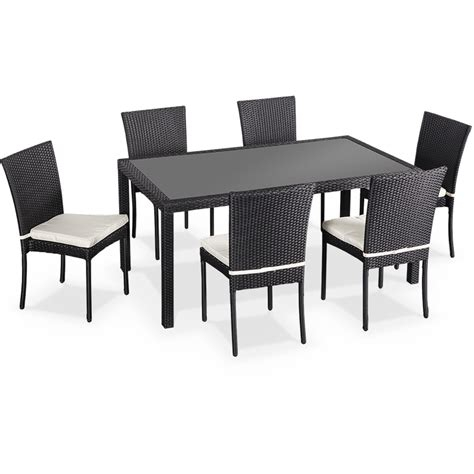 salon de jardin en r 233 sine tress 233 e 6 chaises noir table d ext 233 rieur design wk160r6bk jardin