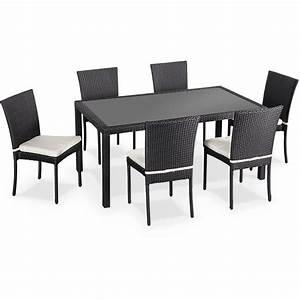 Salon Exterieur Design : salon de jardin en r sine tress e 6 chaises noir table d 39 ext rieur design wk160r6bk jardin ~ Teatrodelosmanantiales.com Idées de Décoration