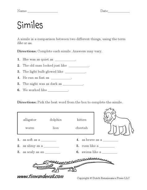 similes worksheet  tims printables