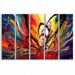 Tableau En 5 Parties : tableau abstrait pas cher toile modernes design deco soon ~ Dailycaller-alerts.com Idées de Décoration