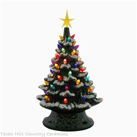 ceramic christmas tree l snow is falling ceramic christmas tree tabletop 11 1 2 inch