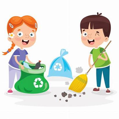 Cleaning Recycling Children Garbage Boy Premium Clipart