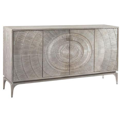 Silver Sideboard by Richard Laila Regency Radiating Silver Grey Oak Sideboard
