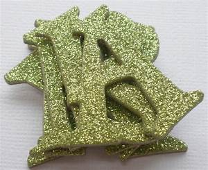 leaf green glitter doodlebug chipboard letters alphabets With extra large chipboard letters