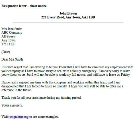 resignation letter  short notice resignletterorg
