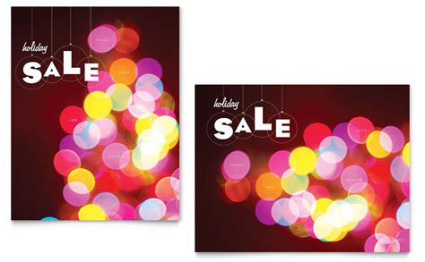 holiday lights sale poster template word publisher