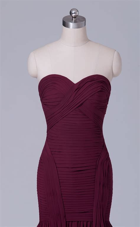 long strapless chiffon burgundy mermaid bridesmaid dress
