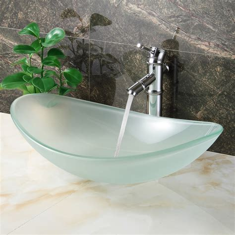 ELITE GD33F Unique Oval Frosted Tempered Glass Bathroom